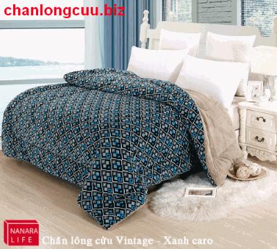 Chăn lông cừu Vintage Xanh Caro Nanara nhật bản