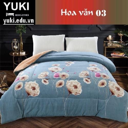 Chăn lông cừu Nhật Yuki Sanding hoa văn 03 hàng nhập khẩu chính hãng