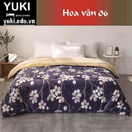 Chăn lông cừu Nhật Yuki Sanding hoa văn 06