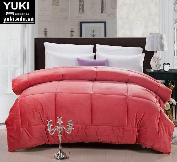 chăn lông thỏ yuki chính hãng màu Đỏ Cam